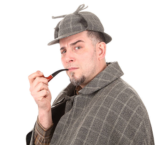 Detective Sherlock Holmes portrait with smoking pipe on white This is a famous detective Sherlock Holmes, portrait on white background. deerstalker hat stock pictures, royalty-free photos & images