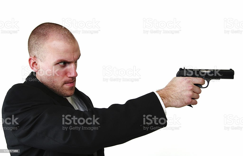 Detective / Spy With Aiming Gun and Copy Space royalty-free stock photo