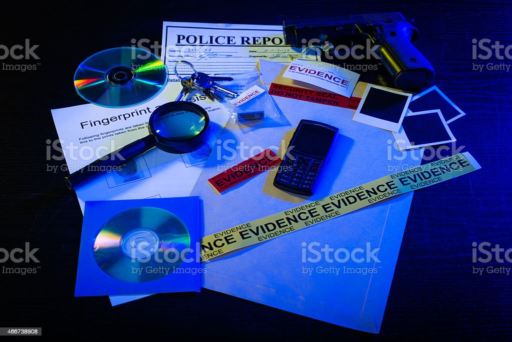 Detective's desk stock photo