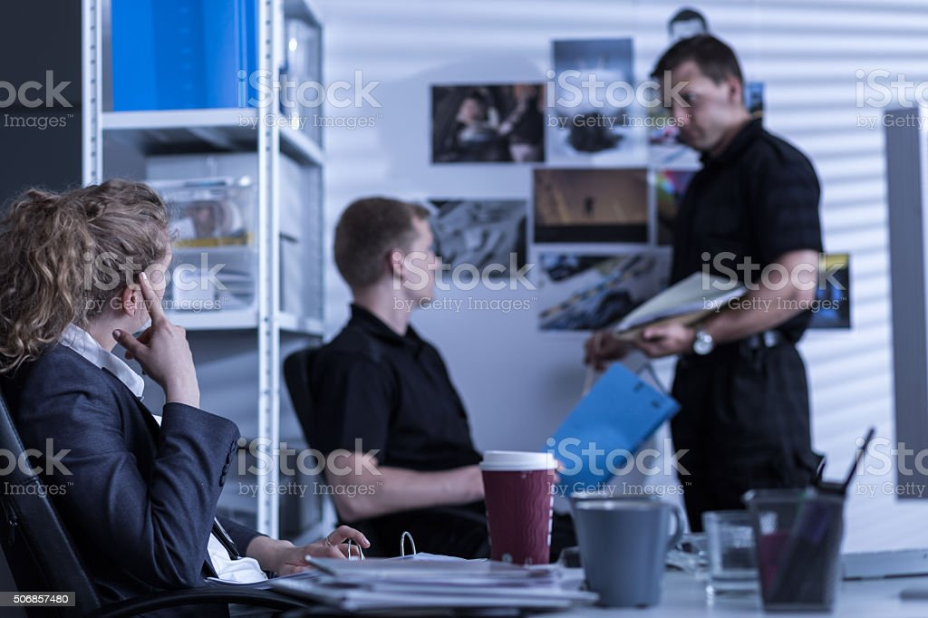 Detectives working in private agency stock photo