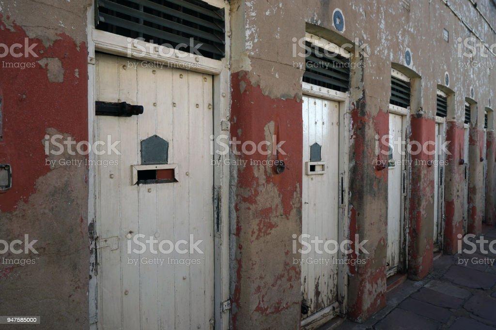 Detention center doors, Constitution Hill, Johannesburg, South Africa. stock photo