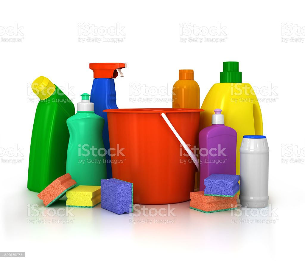 detergent bottles and chemical cleaning supplies isolated on white stock photo