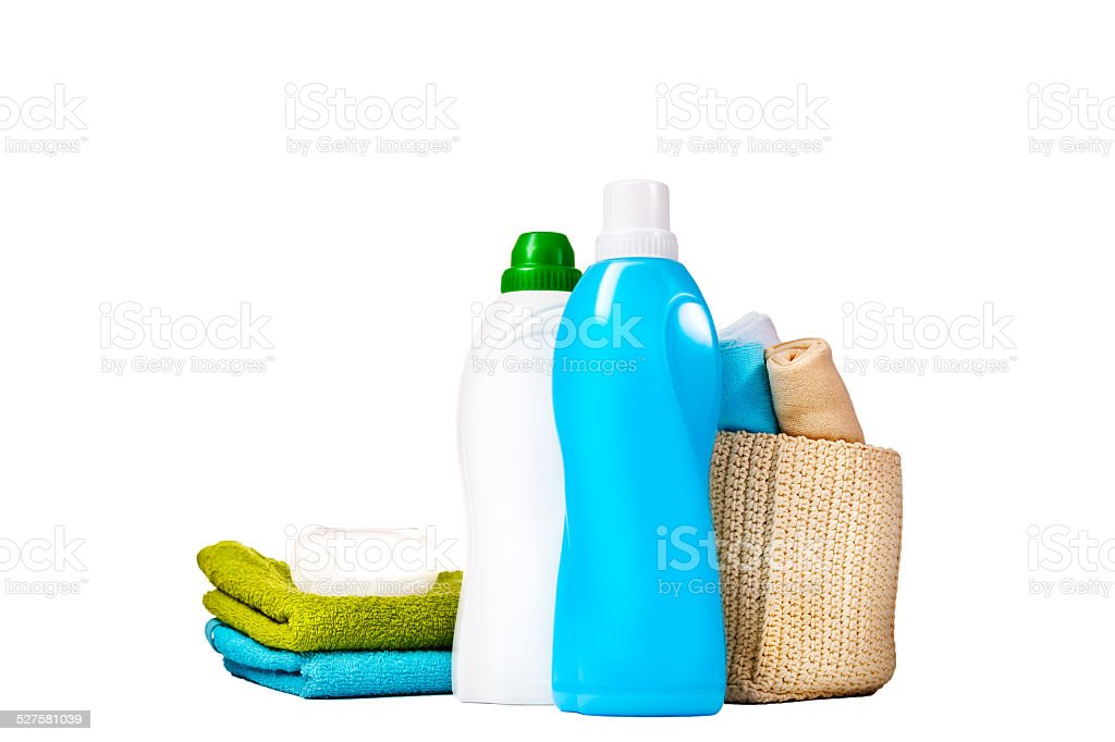 Detergent in blue and white plastic bottles stock photo