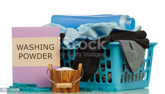 istock Detergents and clothes in baske 501116428