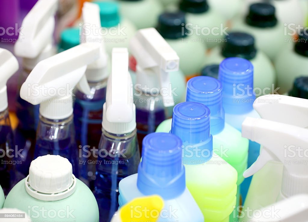 Detergents in plastic bottles. stock photo