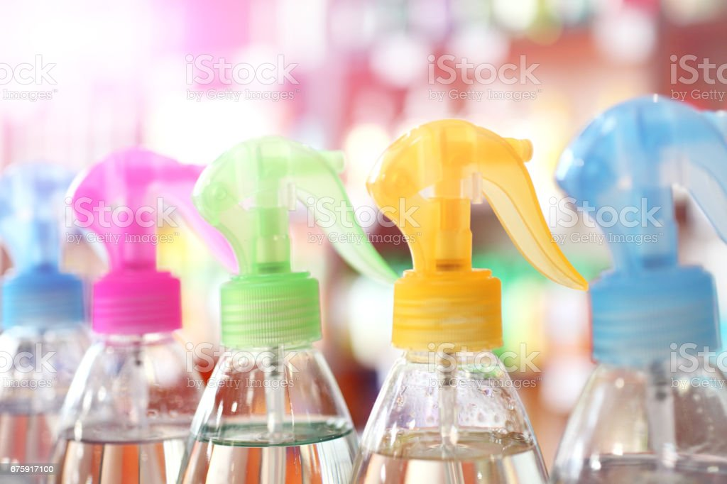 Detergents in plastic bottles stock photo