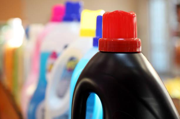 Detergents in plastic bottles stock photo