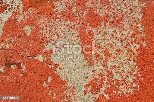 istock Deteriorated red paint 635798690