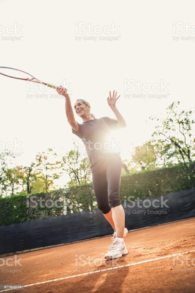 Determinated Female Tennis Player stock photo
