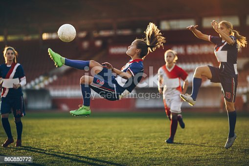 istock Determined bicycle kick on a soccer match! 860880772