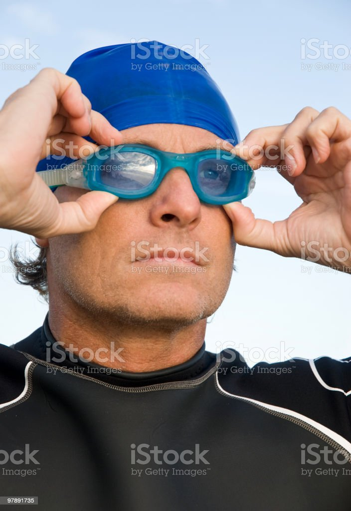Determined male triathlete royalty-free stock photo