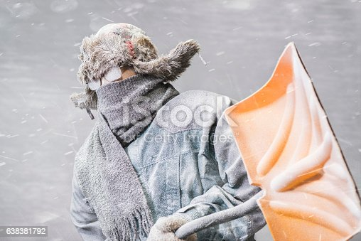 A determined frozen Caucasian male, all bundled up in a fur trappers hat, parka, scarf and gloves, wearing glasses and carrying a yellow snow shovel, covered in snow and frost from the driving snow of a blizzard, heads out to shovel snow.