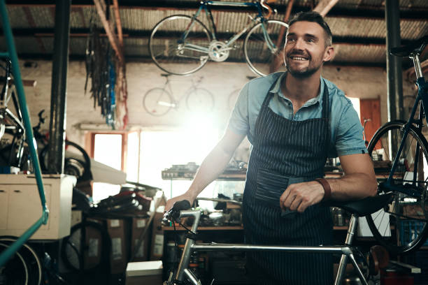 Determined to provide a premium bicycle repair service stock photo