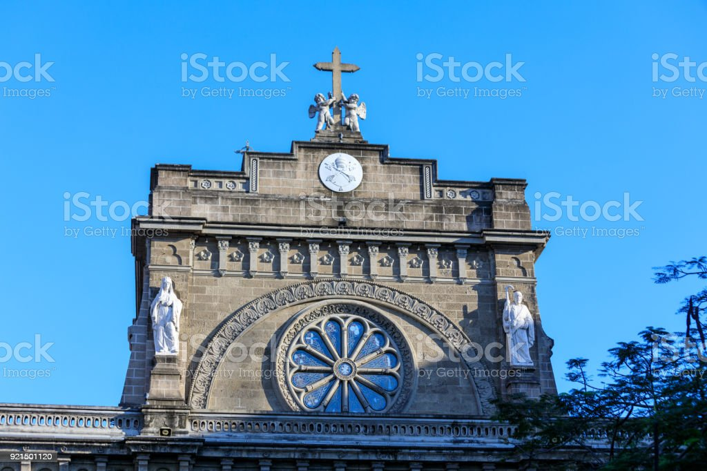 Detiails of Manila Cathedral facade at the Intramuros area stock photo