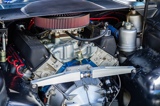 Miami, Florida USA - March 5, 2017: Close up view of the Ford engine in a classic Detomaso Pantera supercar at a public car show.