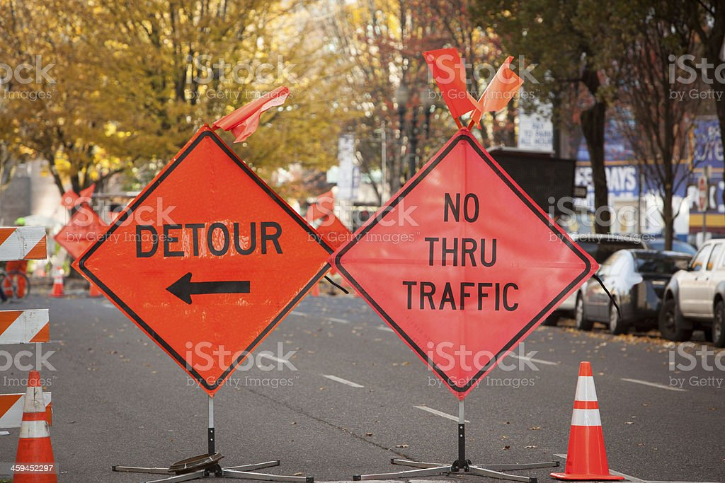 Detour and No Thru Traffic signs in downtown Portland Oregon stock photo