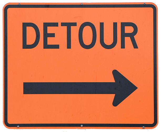 Detour Right stock photo