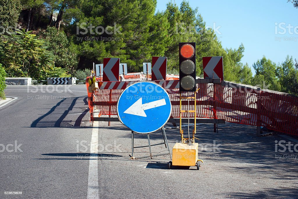 Detour road stock photo