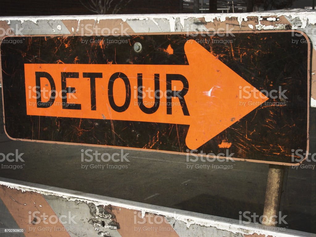 detour sign stock photo
