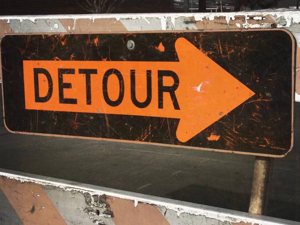 detour sign stock photo