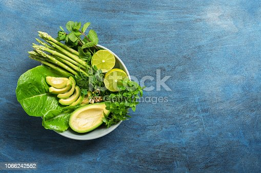 istock Detox Buddha bowl with avocado, asparagus, micro greens, lime, lettuce, basil and mint.Dietary food. Blue rustic background, top view. 1066242552