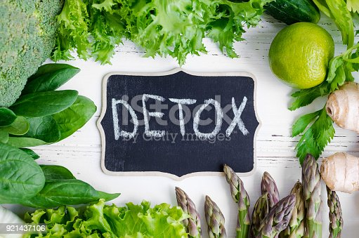 Detox concept with green vegetables: spinach, lettuce, cucumber, ginger, asparagus, broccoli and lime. White wooden background. Clean eating Vegetarian food Healthy fitness lifestyle. Top view.