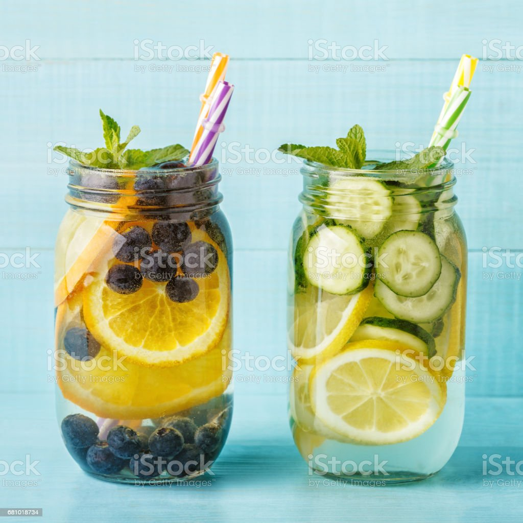 Detox fruit infused water. royalty-free stock photo