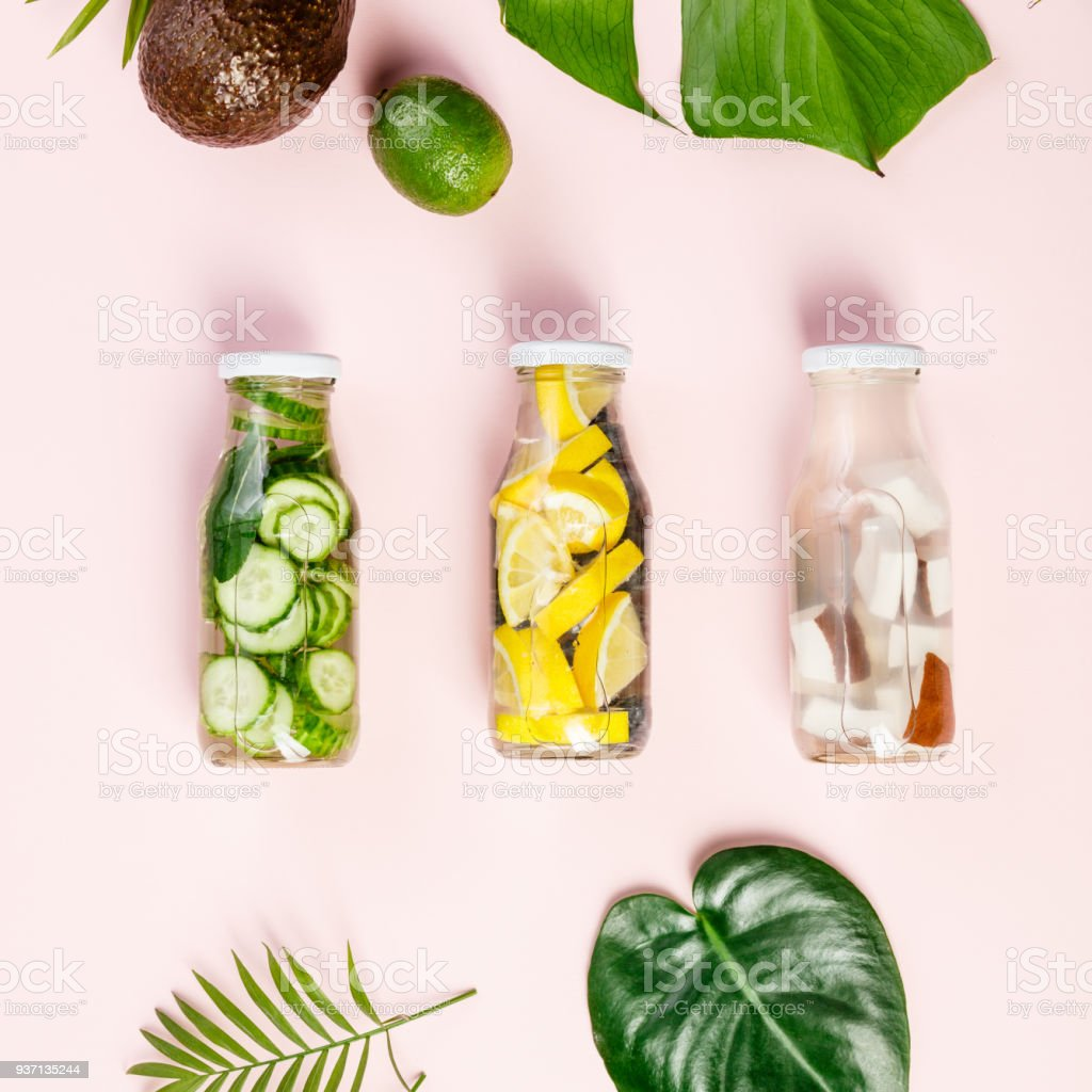 Detox fruit infused water stock photo