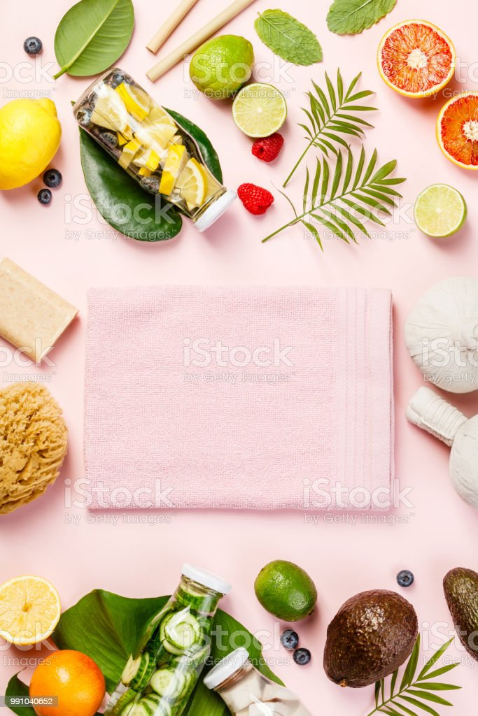 Detox fruit infused water, tropical fruits, leaves and SPA setti stock photo