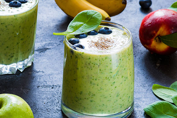 Detox green smoothie, healthy green cocktail stock photo