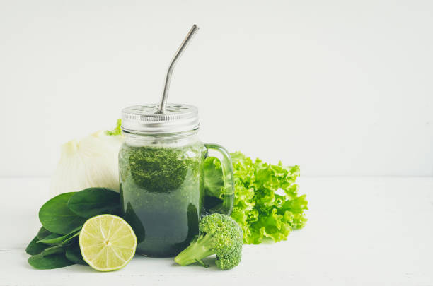 Detox green smoothie stock photo