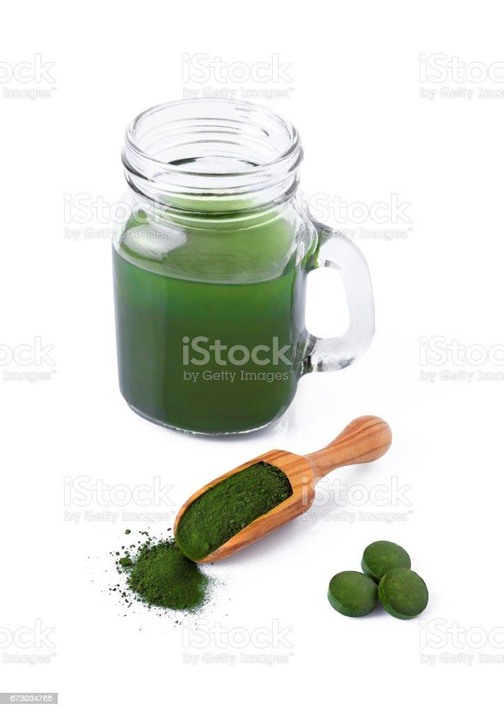 detox, healthy lifestyle, seaweed, organic spirulina and chlorella pills and powder, drink isolated stock photo
