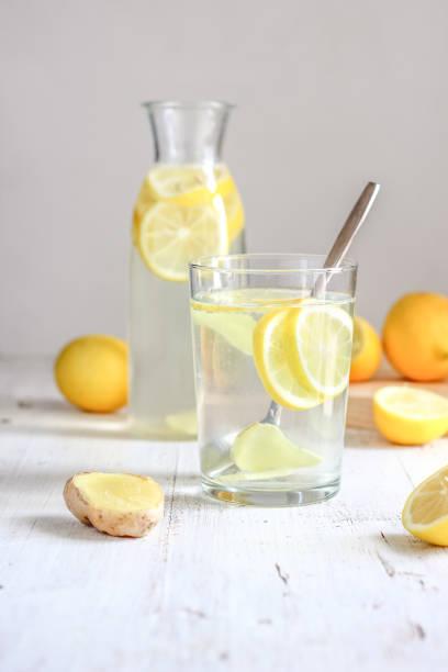 Detox Lemon Ginger Water stock photo