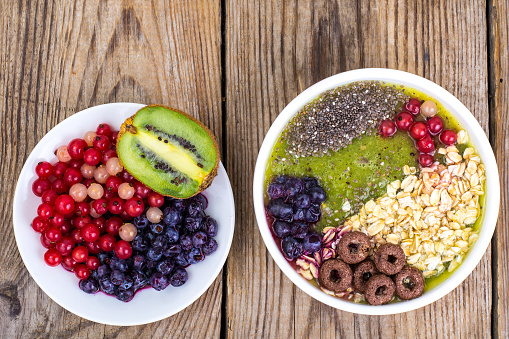 840939766 istock photo Detox menu with fresh fruit, chia seeds and cereal for breakfast. Healthy food 924139022
