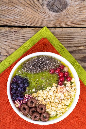 840939766 istock photo Detox menu with fresh fruit, chia seeds and cereal for breakfast. Healthy food 924139042