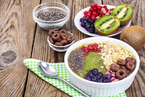840939766 istock photo Detox menu with fresh fruit, chia seeds and cereal for breakfast. Healthy food 924139090