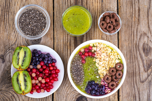 840939766 istock photo Detox menu with fresh fruit, chia seeds and cereal for breakfast. Healthy food 924139140
