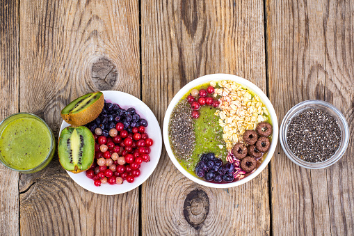 840939766 istock photo Detox menu with fresh fruit, chia seeds and cereal for breakfast. Healthy food 924139168
