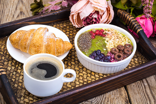 840939766 istock photo Detox menu with fresh fruit, chia seeds and cereal for breakfast. Healthy food 924139206