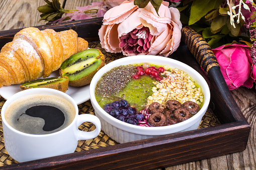 840939766 istock photo Detox menu with fresh fruit, chia seeds and cereal for breakfast. Healthy food 924139244