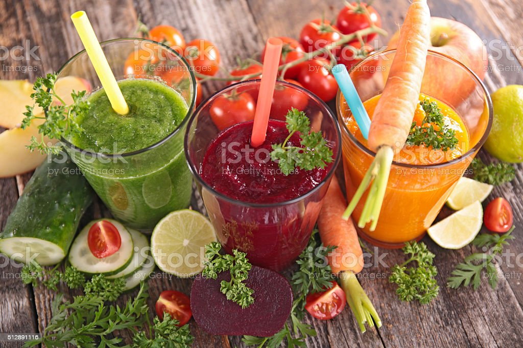 detox vegetable juice stock photo