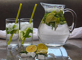 istock Detox Water in a pitcher Flavored with lemon mint and ice 962118550