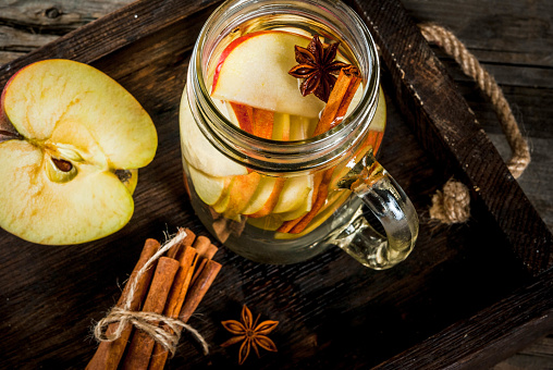 istock Detox water with apple, pear and cinnamon 810221088