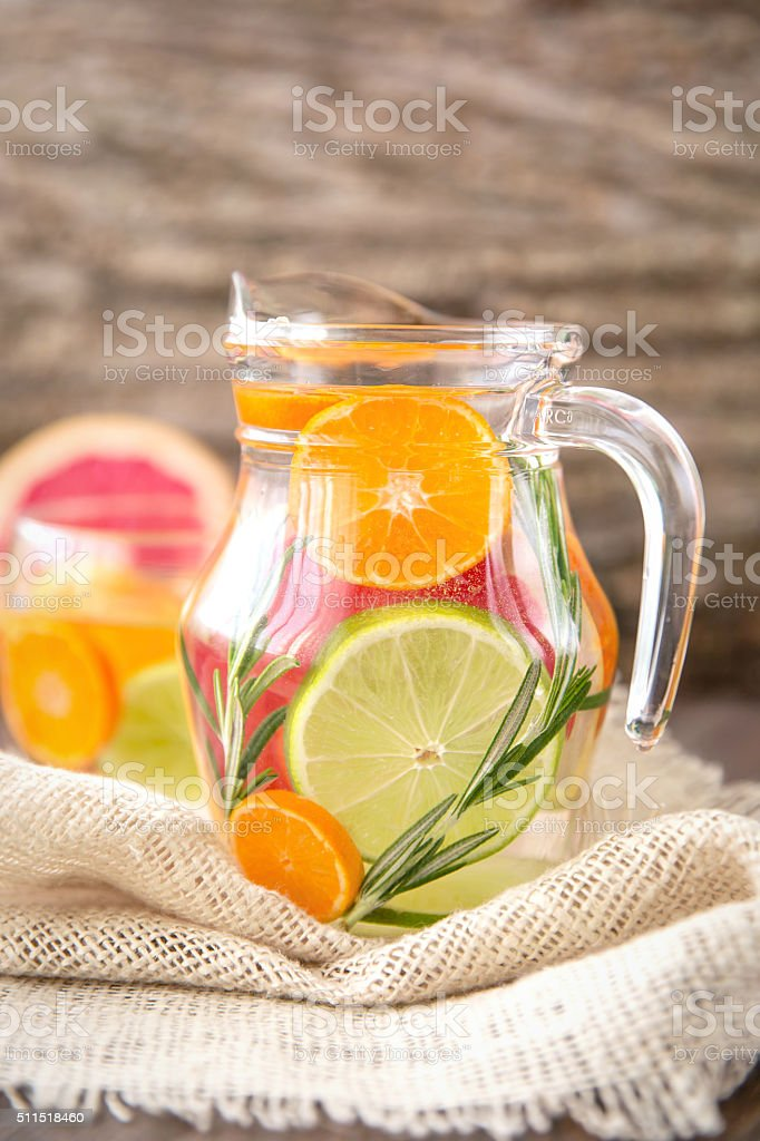 Detox Water with citruses and rosemary stock photo