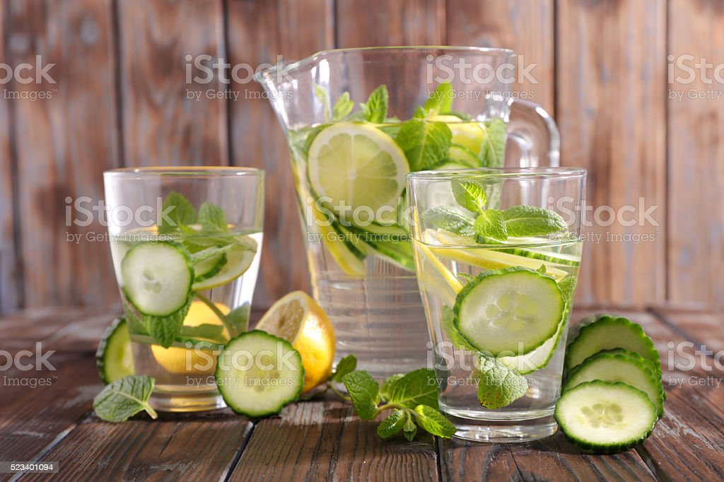 detox water with lemon and cucumber stock photo