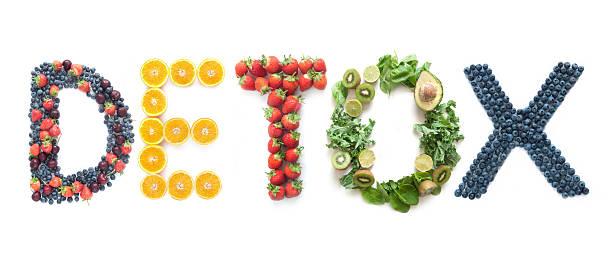 detox słowo wykonane z owoców i warzyw - detoks zdjęcia i obrazy z banku zdjęć