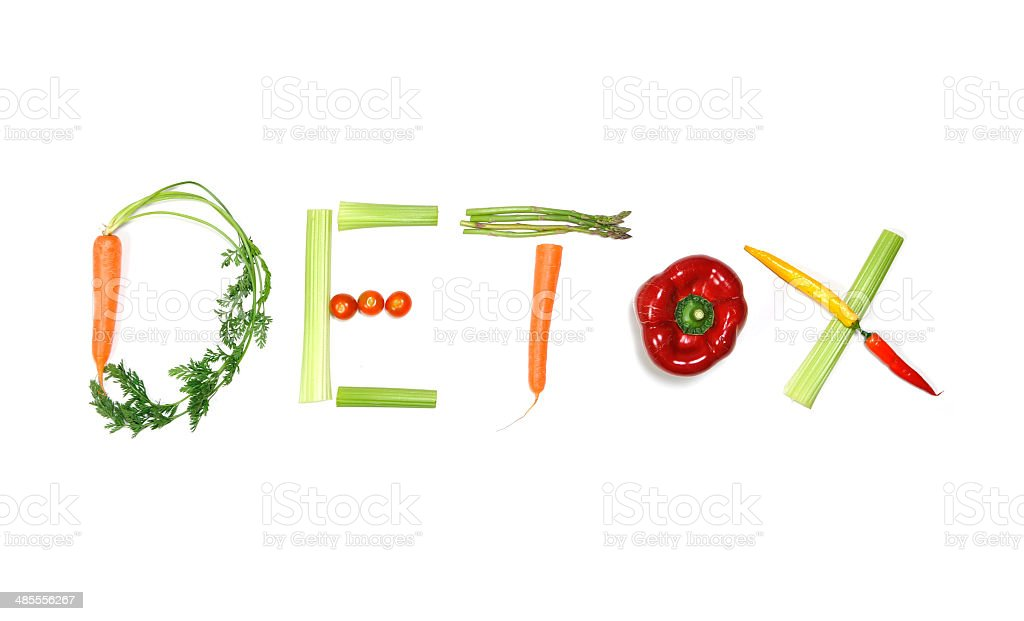 detox written with vegetables in healthy nutrition concept stock photo