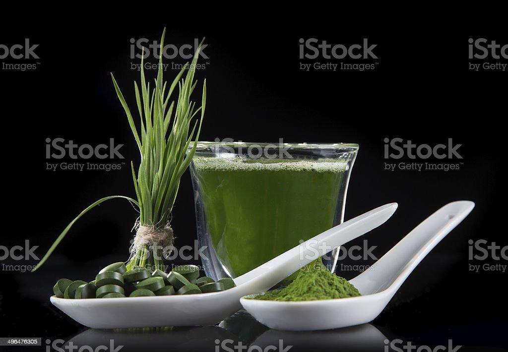 detox. young barley, chlorella superfood. royalty-free stock photo