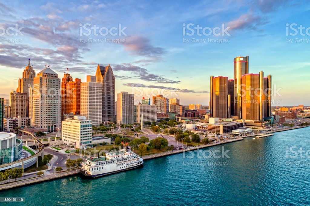 Detroit Aerial Panorama royalty-free stock photo