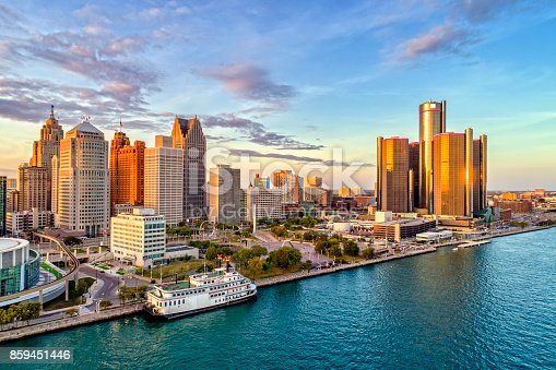 Detroit Aerial Panorama during sunset